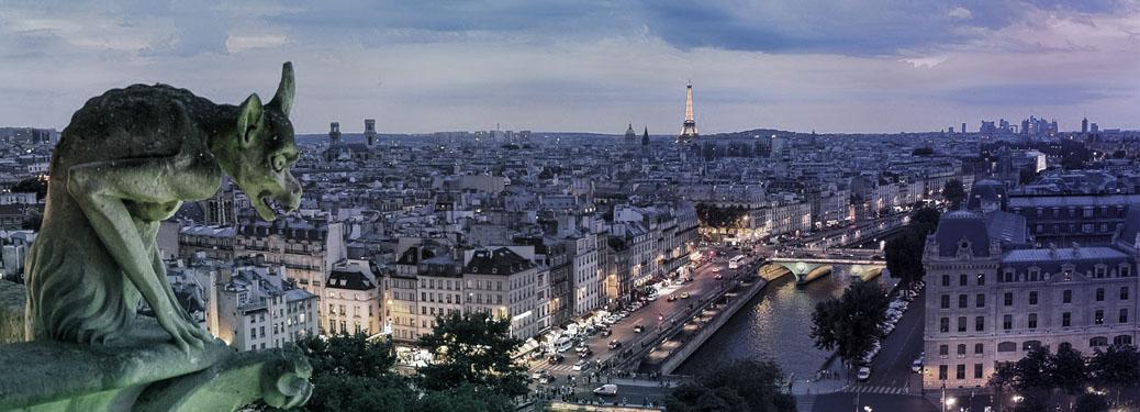 Der Eiffelturm fotografiert vom Dach von Notre Dame